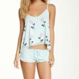 Wildfox Intimates mint pajama set rose print